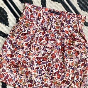 Zara Soft Corduroy floral skirt with pocket  Med